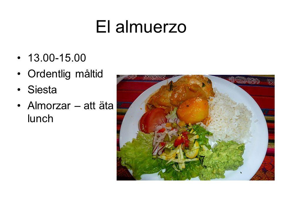 El almuerzo 13.00-15.00 Ordentlig måltid Siesta