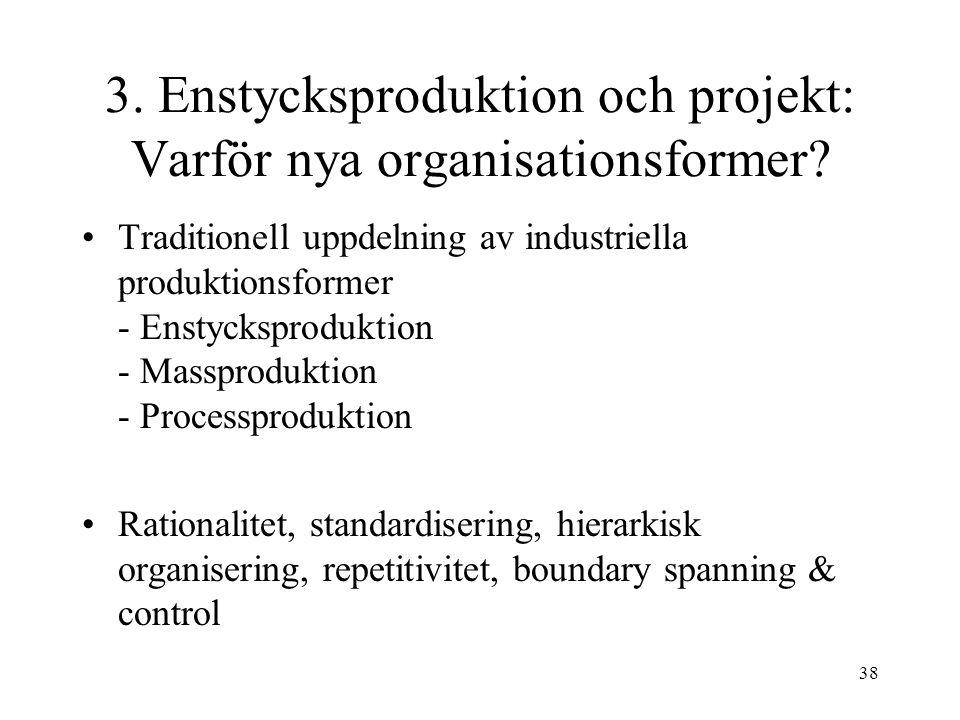 3. Enstycksproduktion och projekt: Varför nya organisationsformer