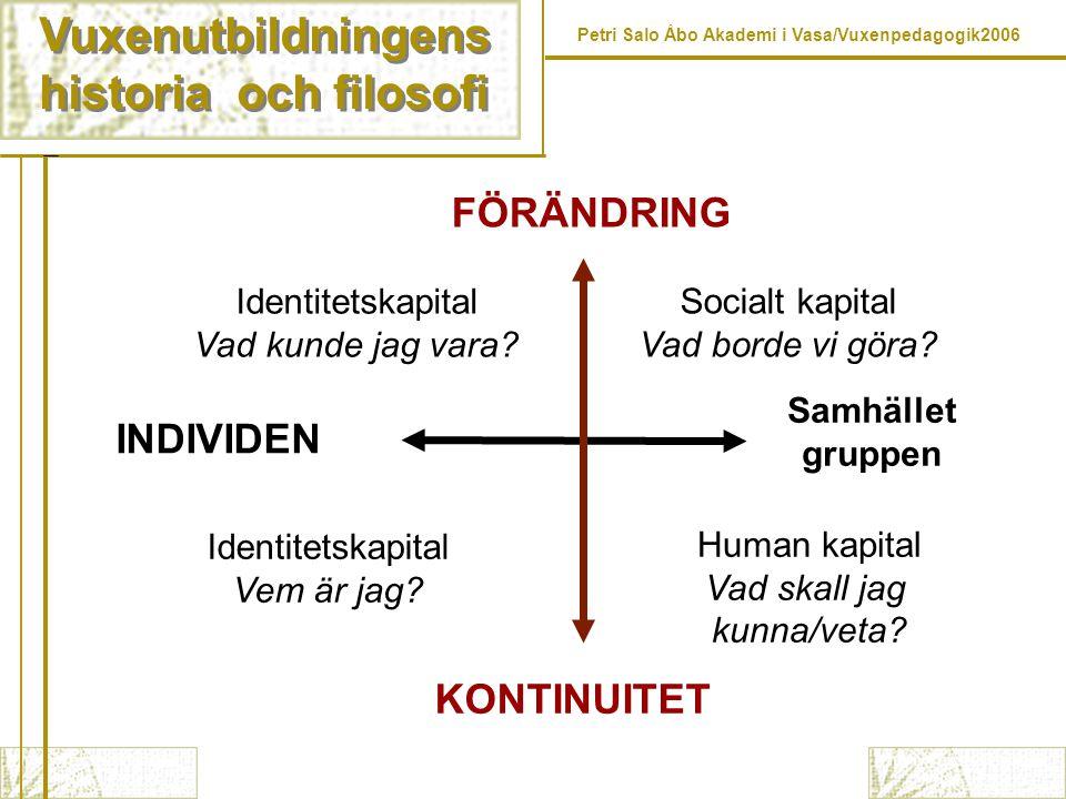 Vuxenutbildningens historia och filosofi FÖRÄNDRING INDIVIDEN