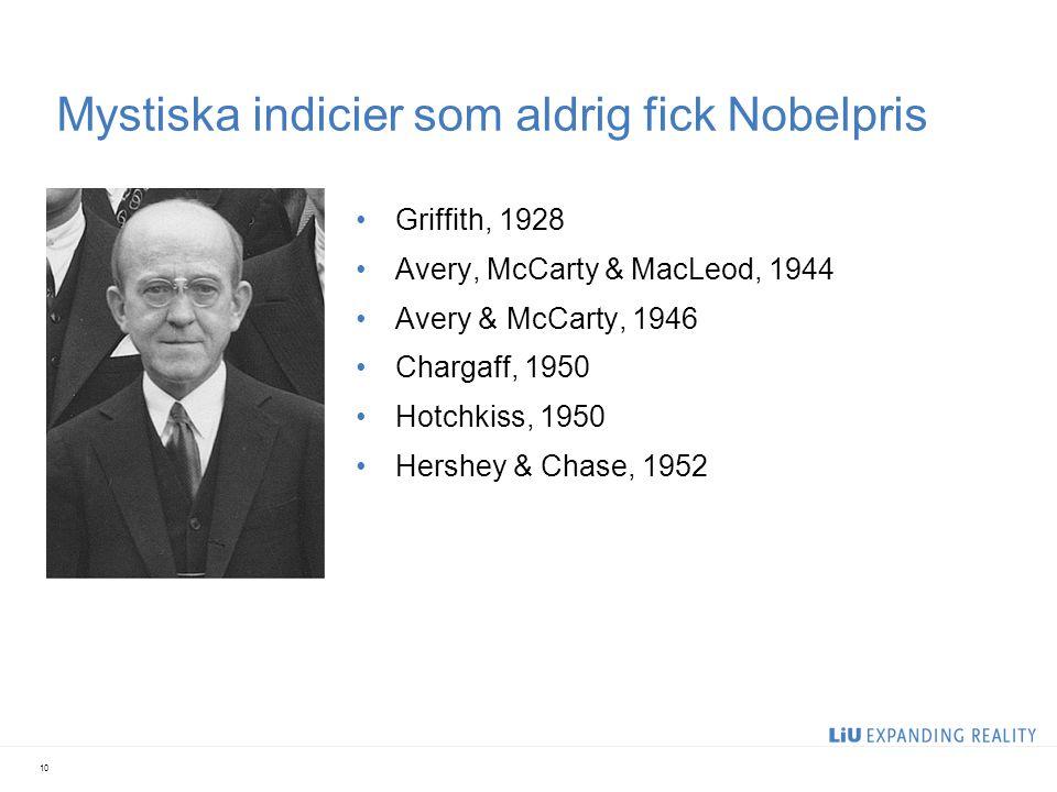 Mystiska indicier som aldrig fick Nobelpris