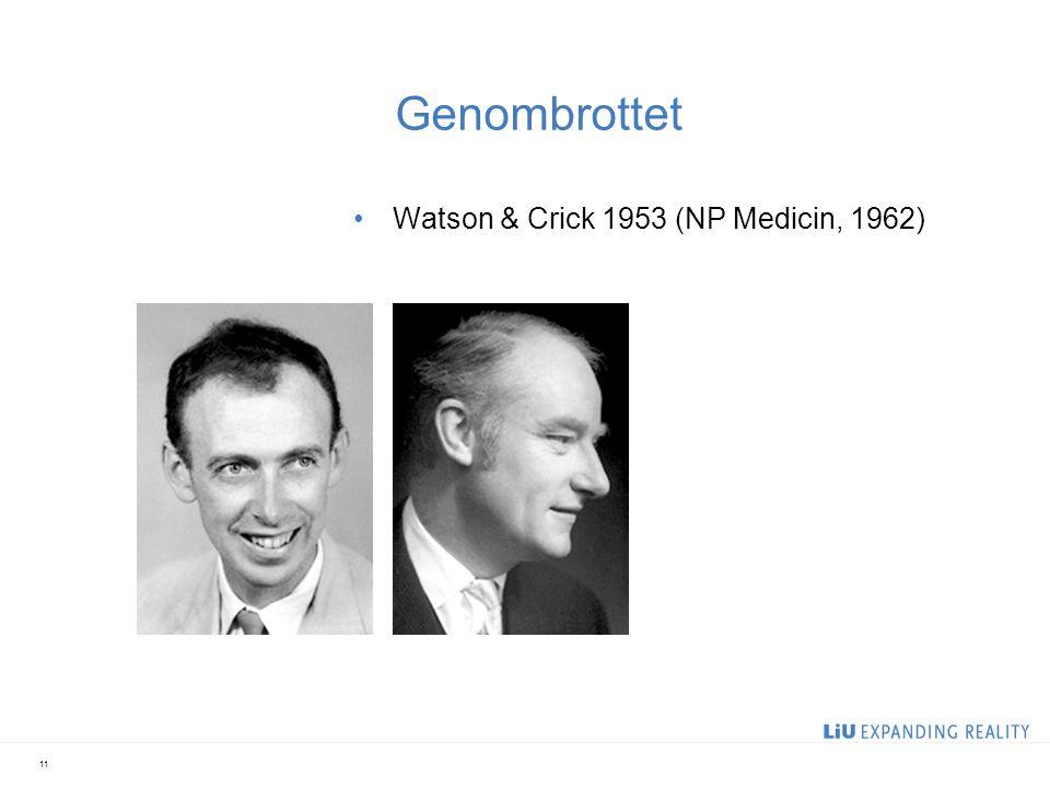 Genombrottet Watson & Crick 1953 (NP Medicin, 1962) 2017-04-05