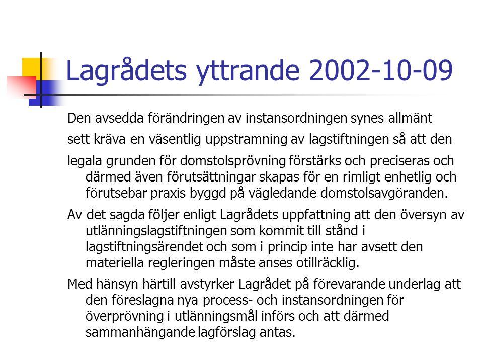 Lagrådets yttrande 2002-10-09