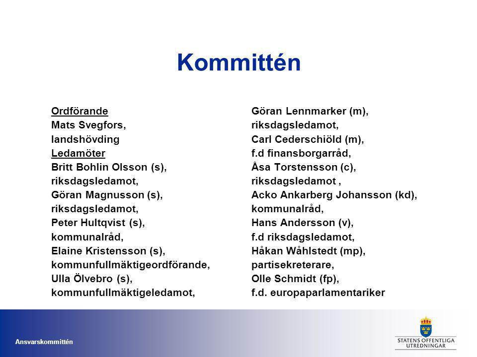 Kommittén Ordförande Mats Svegfors, landshövding Ledamöter