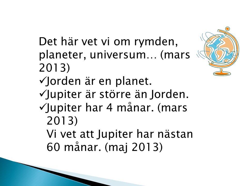 Det här vet vi om rymden, planeter, universum… (mars 2013)