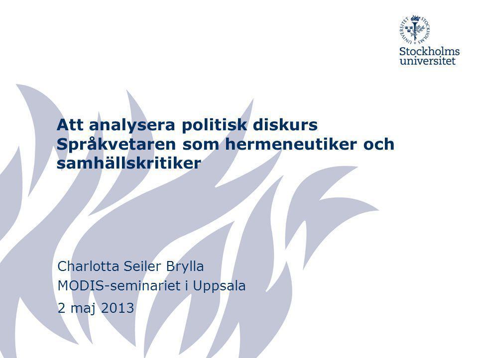 Charlotta Seiler Brylla MODIS-seminariet i Uppsala 2 maj 2013