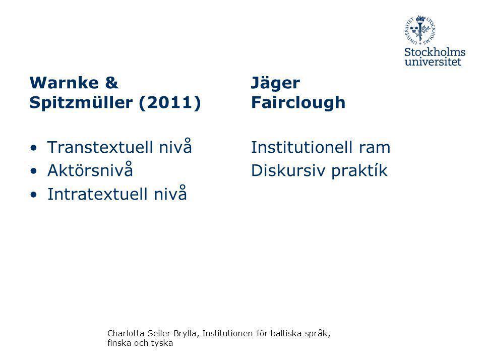 Warnke & Spitzmüller (2011) Jäger Fairclough