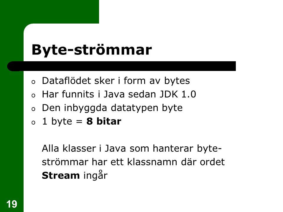 Byte-strömmar Dataflödet sker i form av bytes