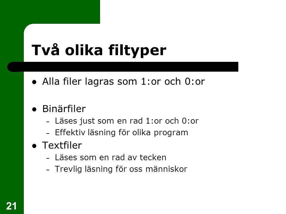 Två olika filtyper Alla filer lagras som 1:or och 0:or Binärfiler