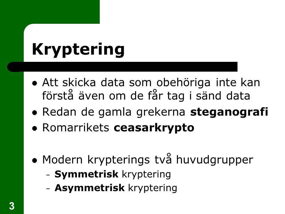 Kryptering Att skicka data som obehöriga inte kan förstå även om de får tag i sänd data. Redan de gamla grekerna steganografi.