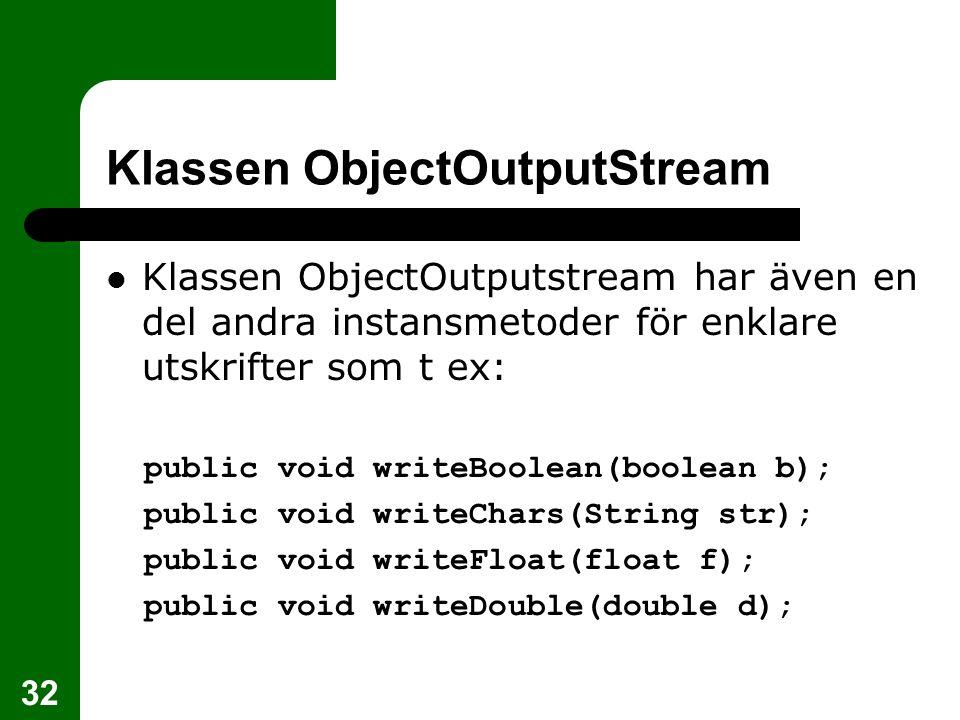Klassen ObjectOutputStream