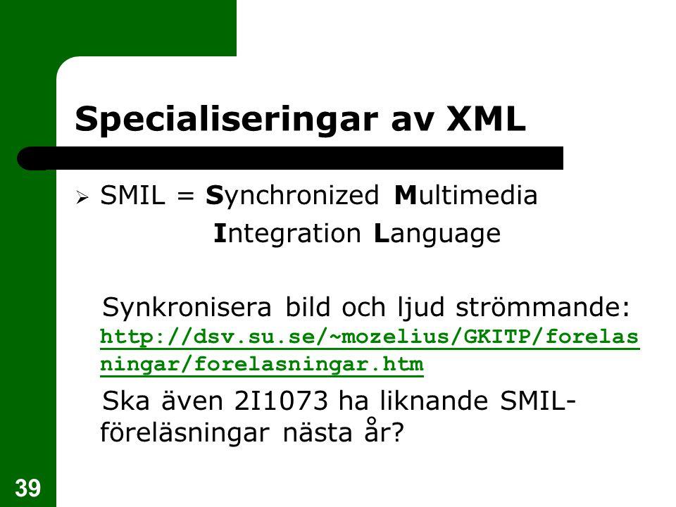 Specialiseringar av XML