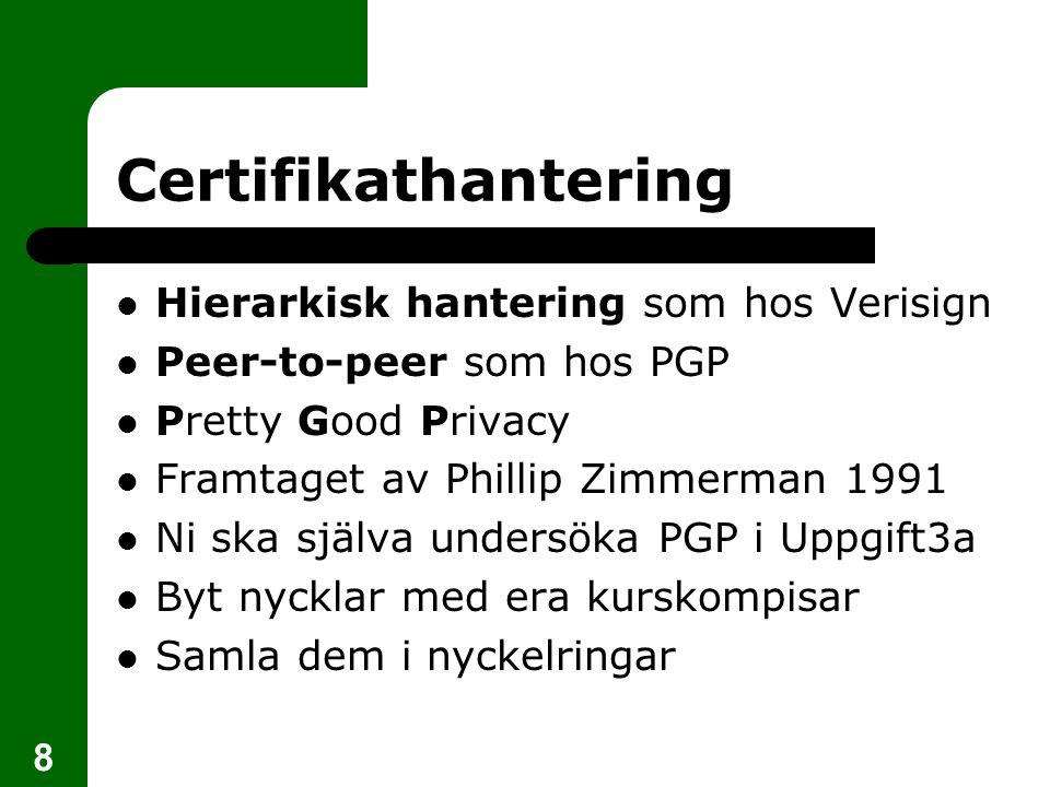 Certifikathantering Hierarkisk hantering som hos Verisign