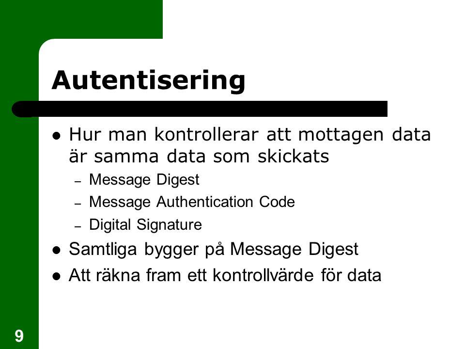 Autentisering Hur man kontrollerar att mottagen data är samma data som skickats. Message Digest. Message Authentication Code.