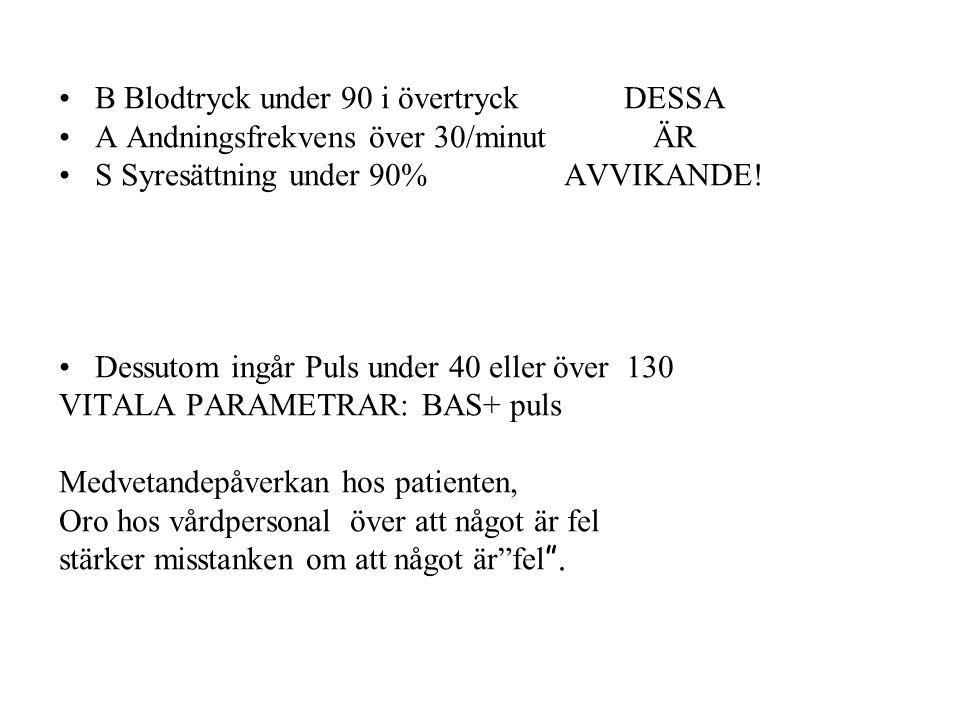 B Blodtryck under 90 i övertryck DESSA