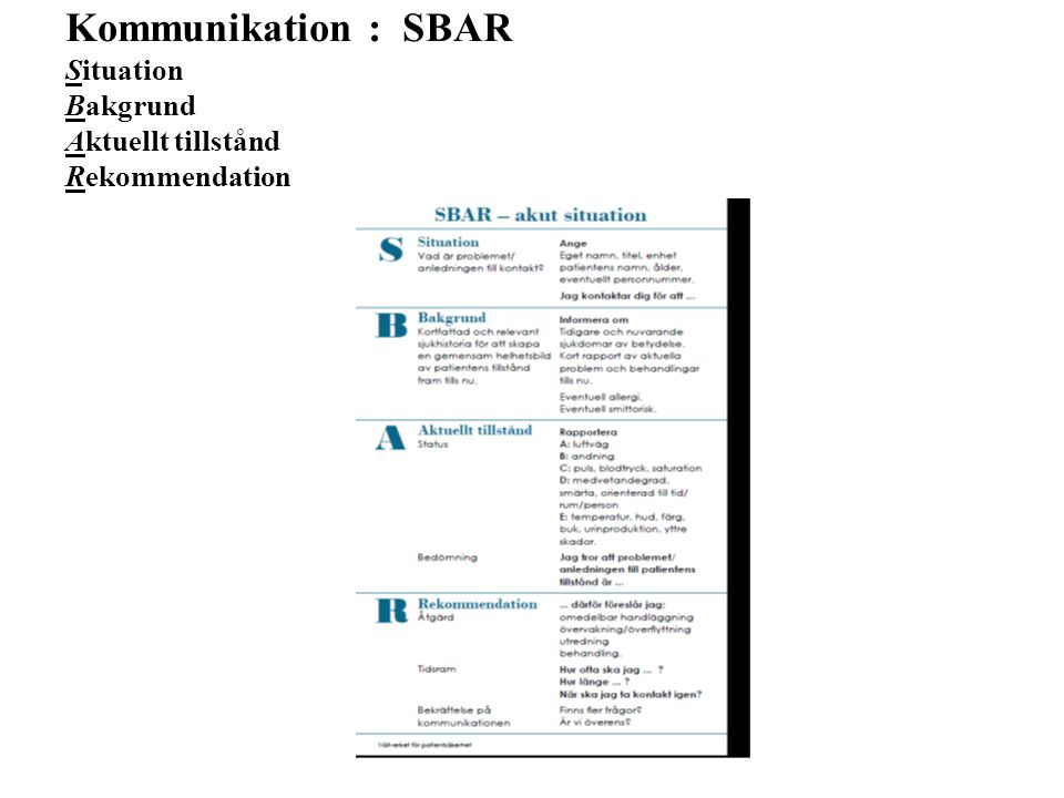 Kommunikation : SBAR Situation Bakgrund Aktuellt tillstånd Rekommendation