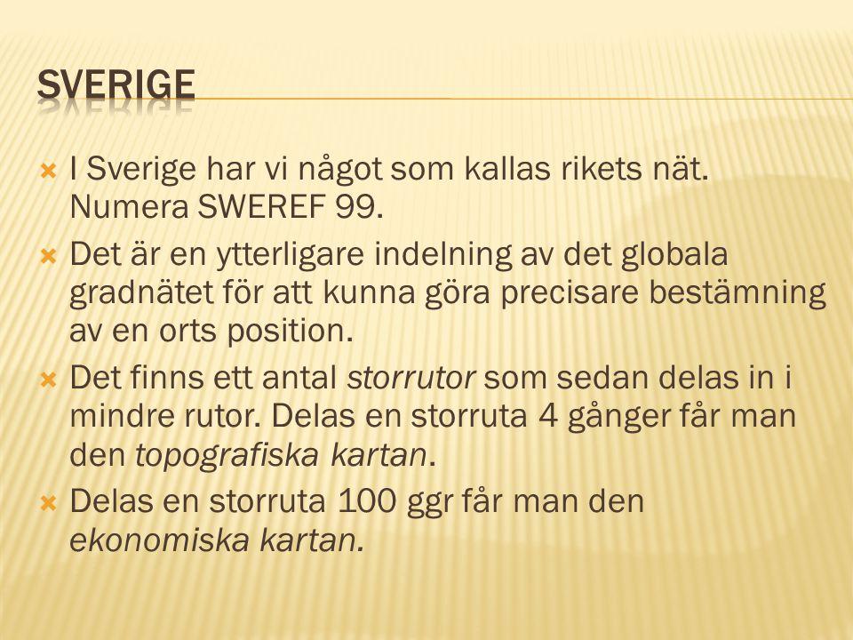 Sverige I Sverige har vi något som kallas rikets nät. Numera SWEREF 99.