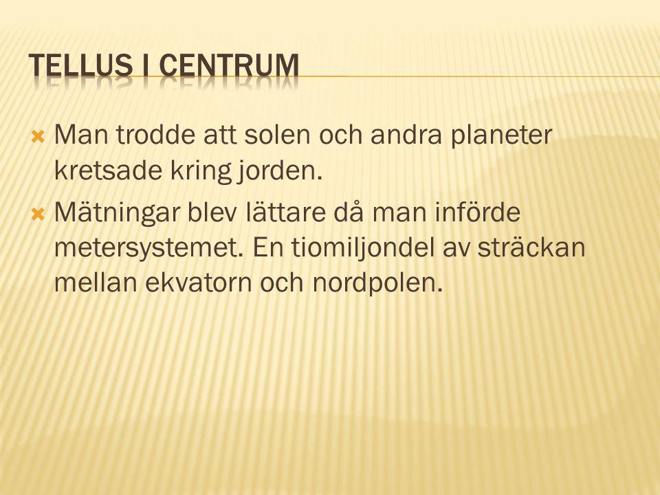 Tellus i centrum Man trodde att solen och andra planeter kretsade kring jorden.