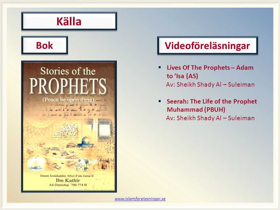 Källa Bok Videoföreläsningar Lives Of The Prophets – Adam to 'Isa (AS)