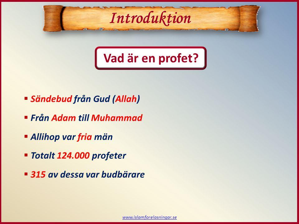 Introduktion Vad är en profet Sändebud från Gud (Allah)