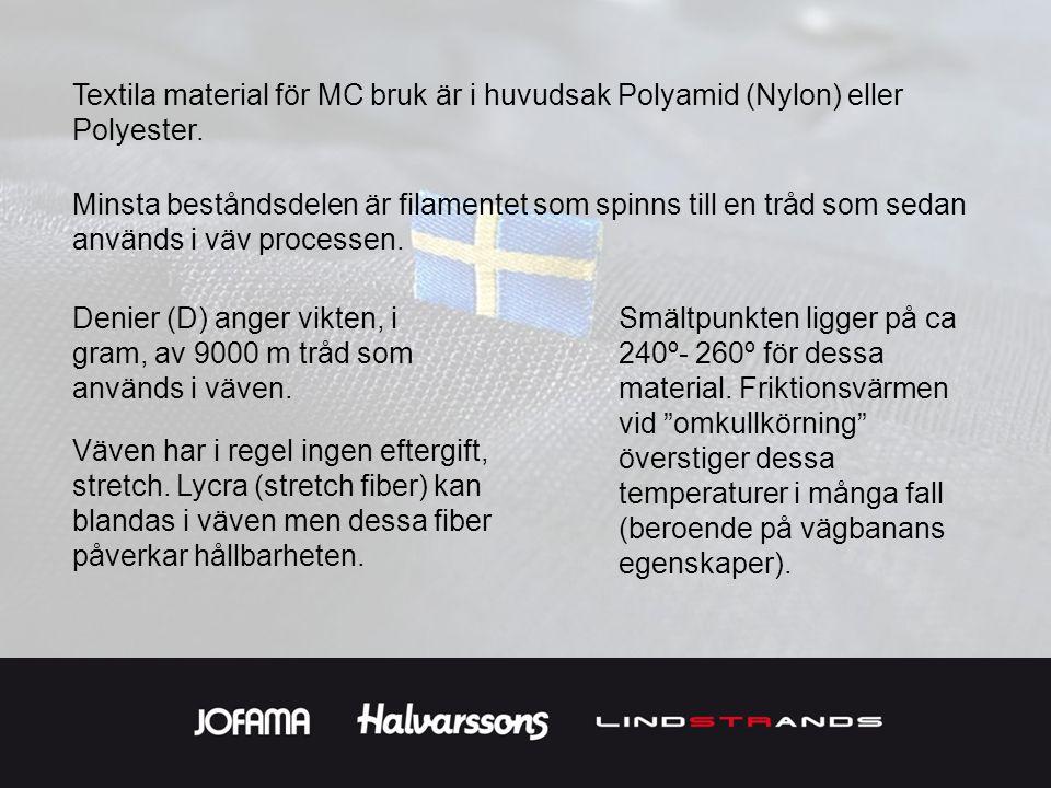 Textila material för MC bruk är i huvudsak Polyamid (Nylon) eller Polyester.