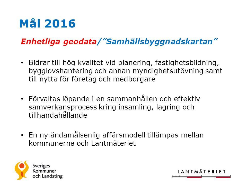 Mål 2016 Enhetliga geodata/ Samhällsbyggnadskartan