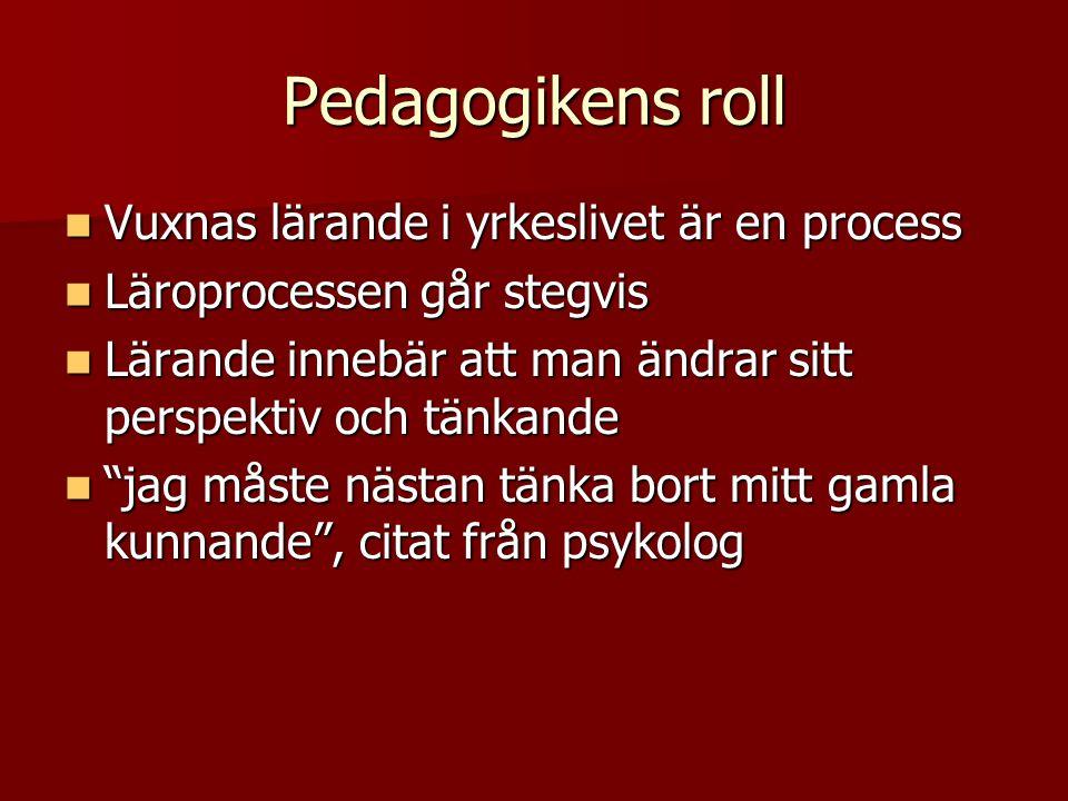 Pedagogikens roll Vuxnas lärande i yrkeslivet är en process