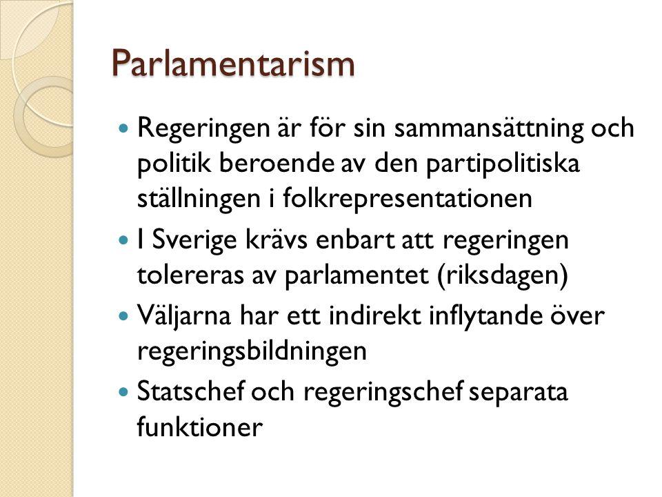 Parlamentarism Regeringen är för sin sammansättning och politik beroende av den partipolitiska ställningen i folkrepresentationen.
