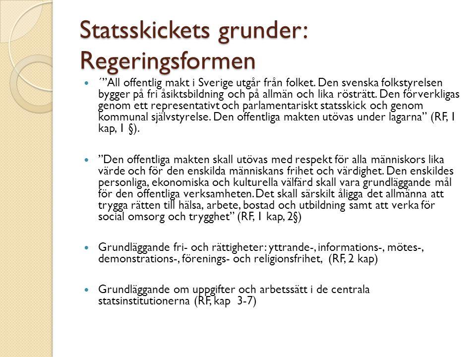Statsskickets grunder: Regeringsformen