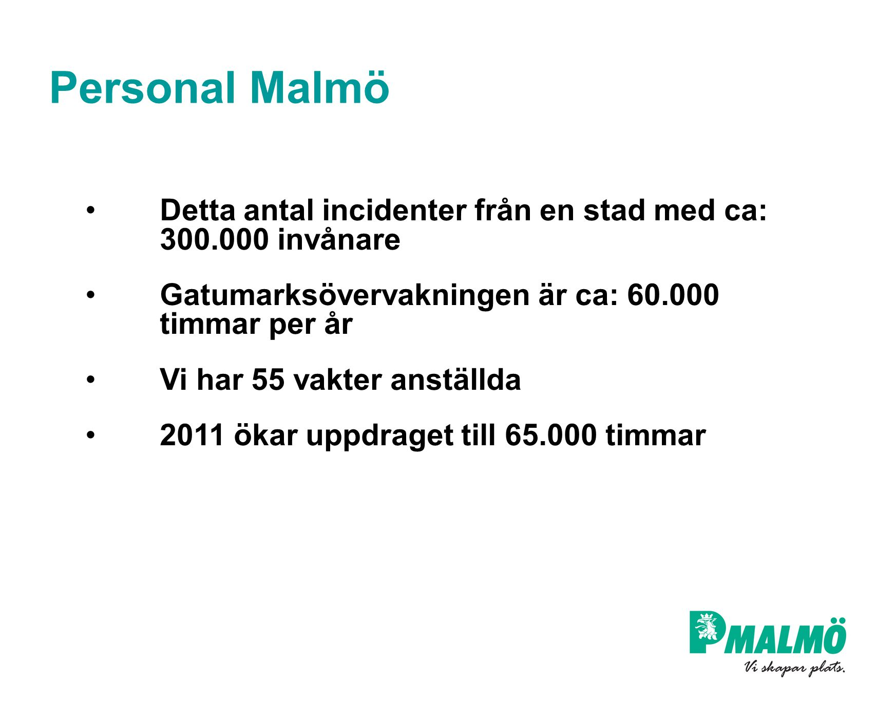 Personal Malmö Detta antal incidenter från en stad med ca: 300.000 invånare. Gatumarksövervakningen är ca: 60.000 timmar per år.