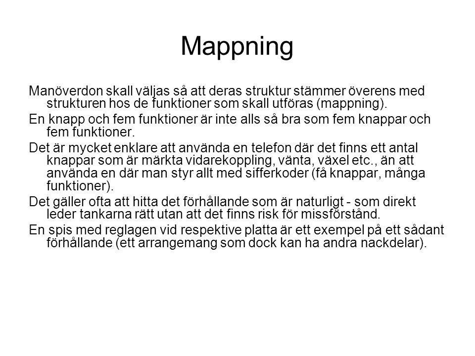 Mappning Manöverdon skall väljas så att deras struktur stämmer överens med strukturen hos de funktioner som skall utföras (mappning).