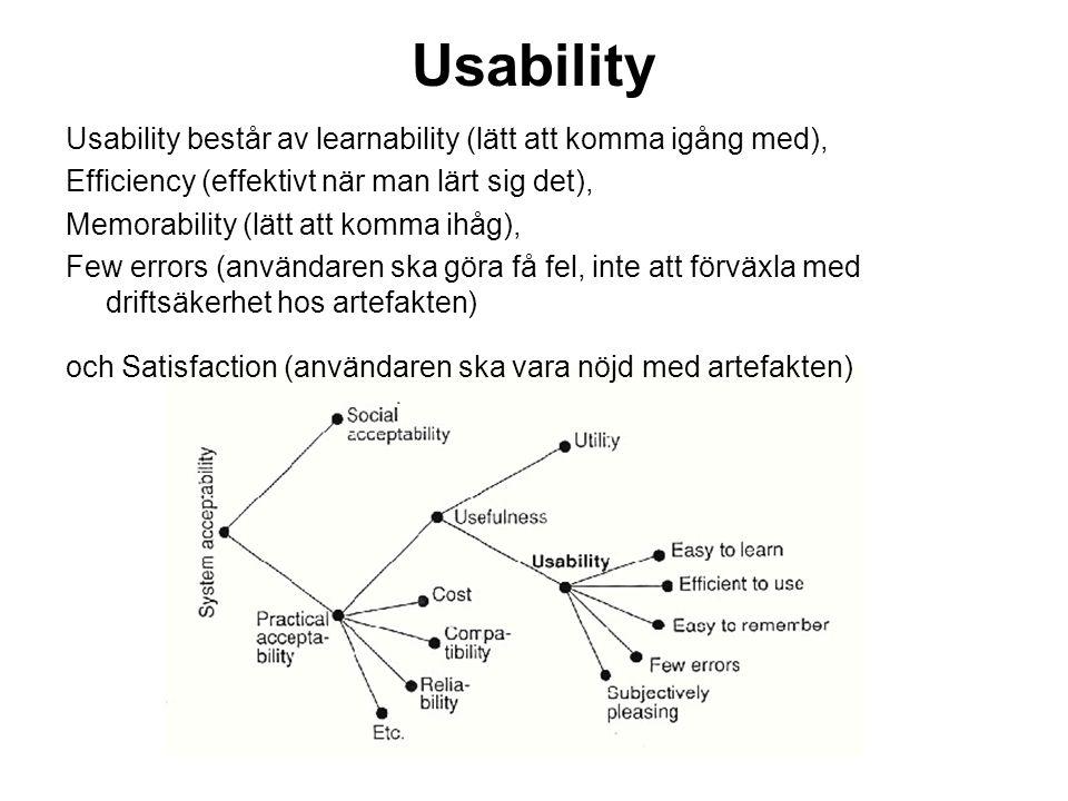 Usability Usability består av learnability (lätt att komma igång med),