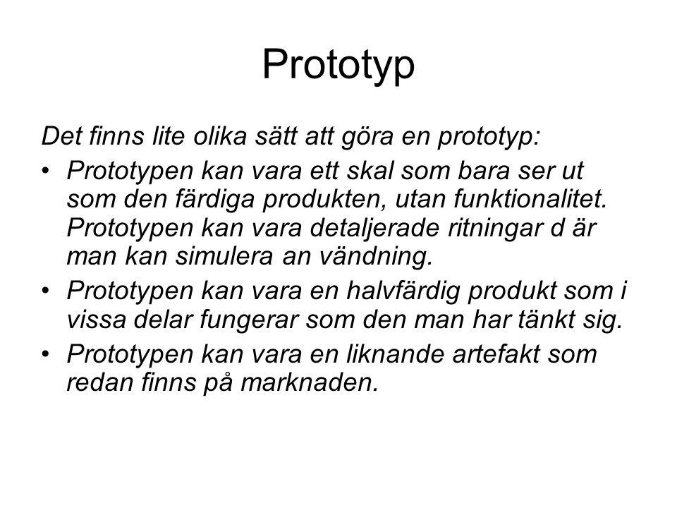 Prototyp Det finns lite olika sätt att göra en prototyp: