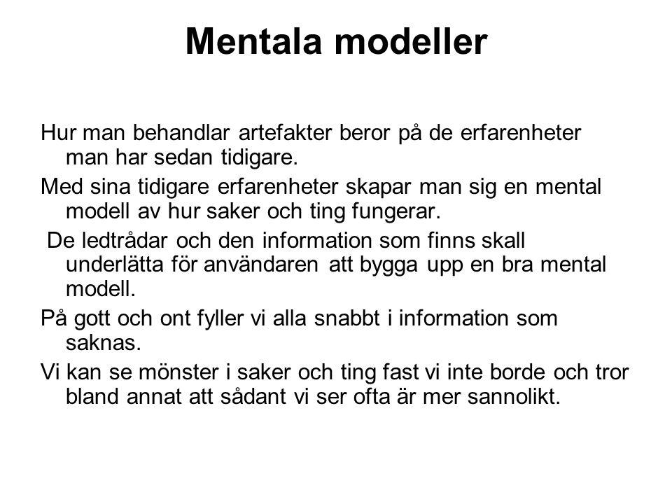 Mentala modeller Hur man behandlar artefakter beror på de erfarenheter man har sedan tidigare.