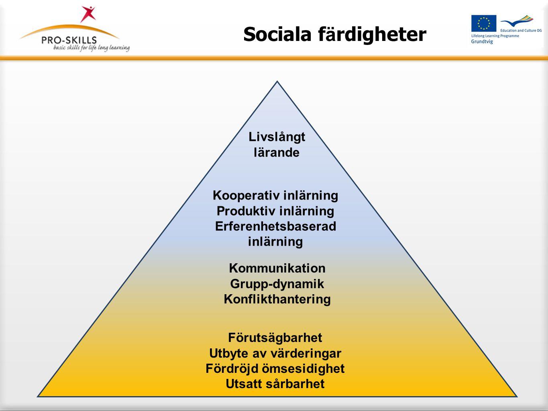 Sociala färdigheter Om vi kan skapa förtroende i en pålitlig miljö (vår utbildning), skapar det även möjligheter för att påvisa pålitlighet.
