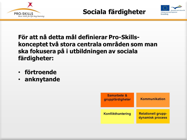 Sociala färdigheter Vi kan definiera fyra aktiva dimensioner i spel då vi beskriver fenomenet tillit: