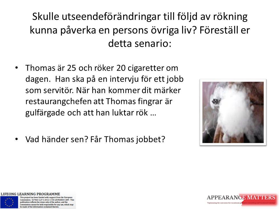 Skulle utseendeförändringar till följd av rökning kunna påverka en persons övriga liv Föreställ er detta senario: