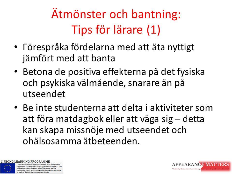 Ätmönster och bantning: Tips för lärare (1)