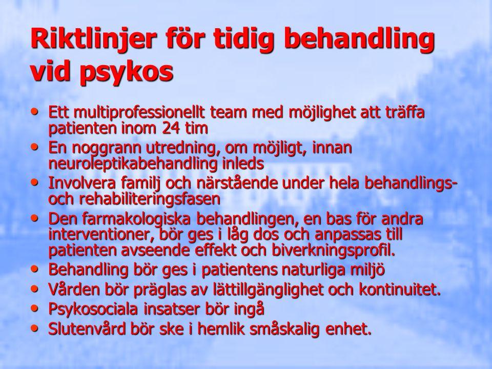 Riktlinjer för tidig behandling vid psykos