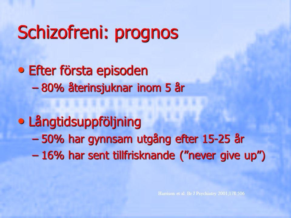 Schizofreni: prognos Efter första episoden Långtidsuppföljning