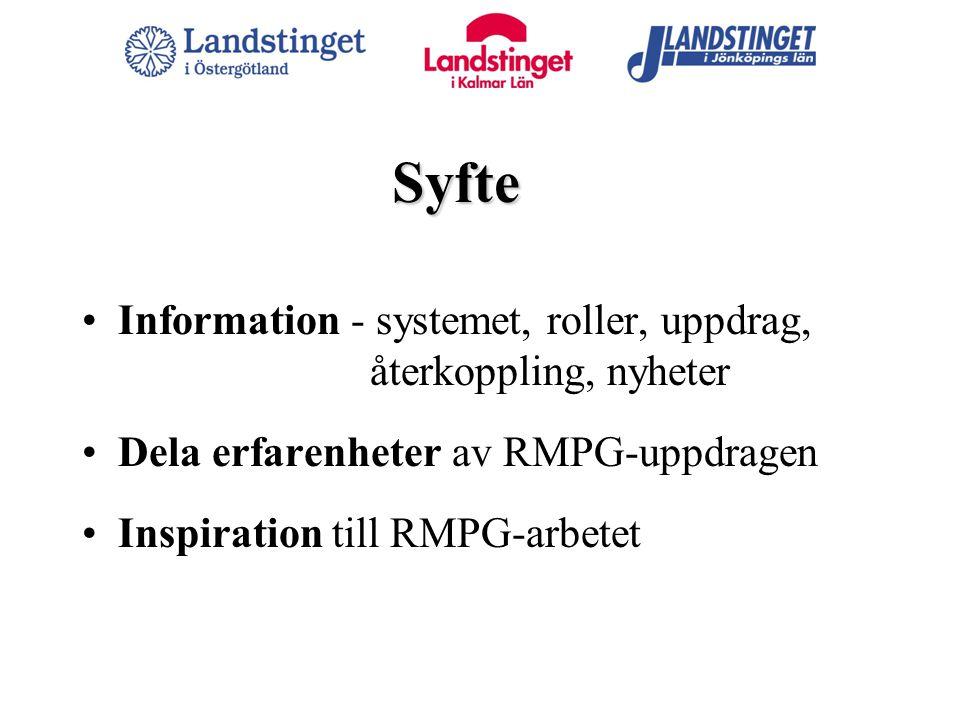 Syfte Information - systemet, roller, uppdrag, återkoppling, nyheter