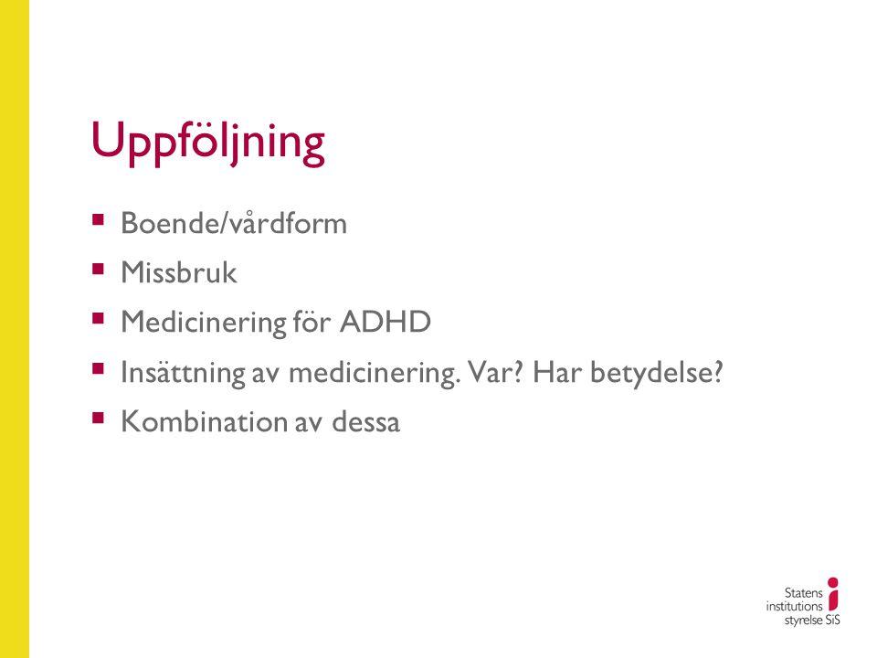 Uppföljning Boende/vårdform Missbruk Medicinering för ADHD
