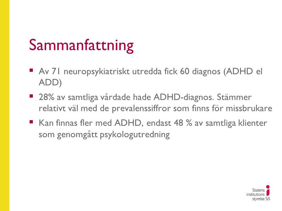 Sammanfattning Av 71 neuropsykiatriskt utredda fick 60 diagnos (ADHD el ADD)