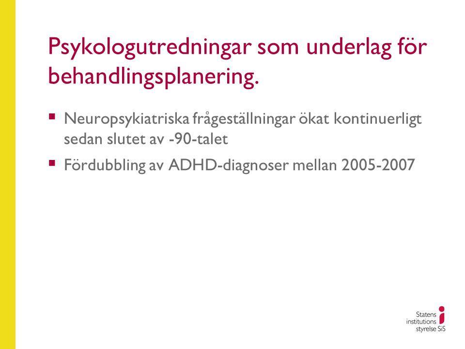 Psykologutredningar som underlag för behandlingsplanering.