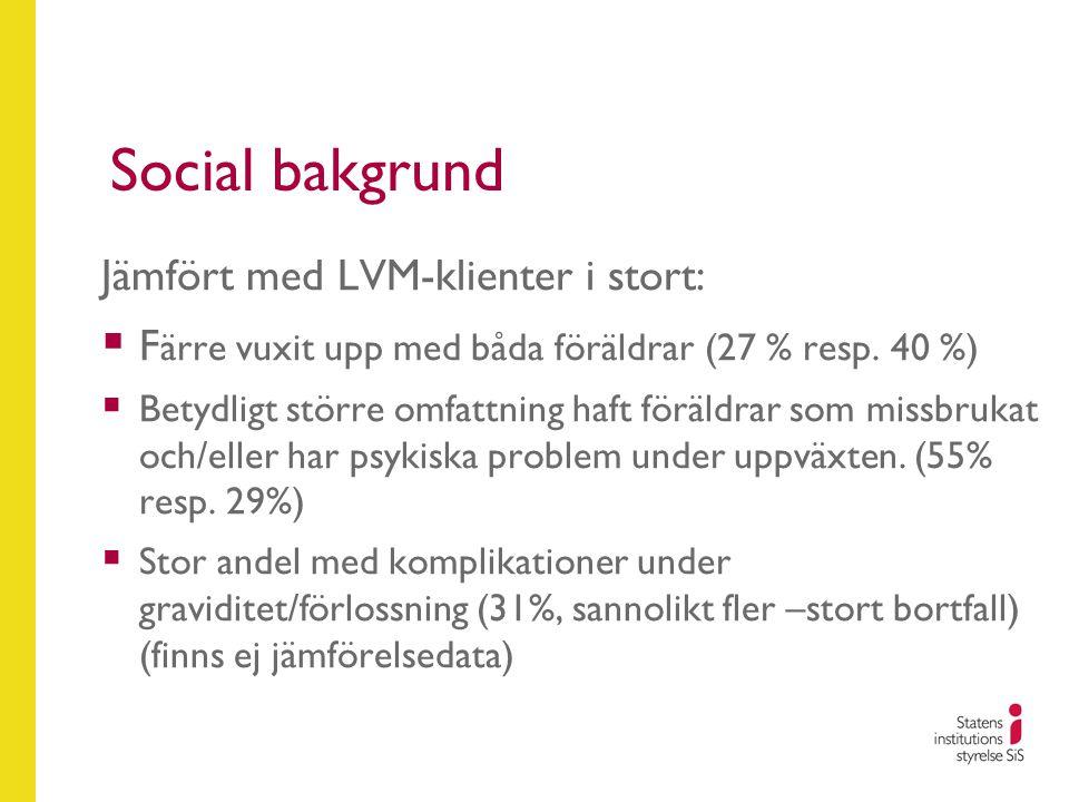 Social bakgrund Jämfört med LVM-klienter i stort:
