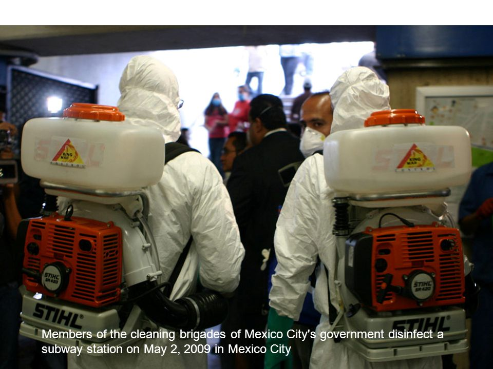 . Members of the cleaning brigades of Mexico City s government disinfect a subway station on May 2, 2009 in Mexico City.