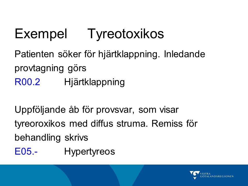 Exempel Tyreotoxikos Patienten söker för hjärtklappning. Inledande