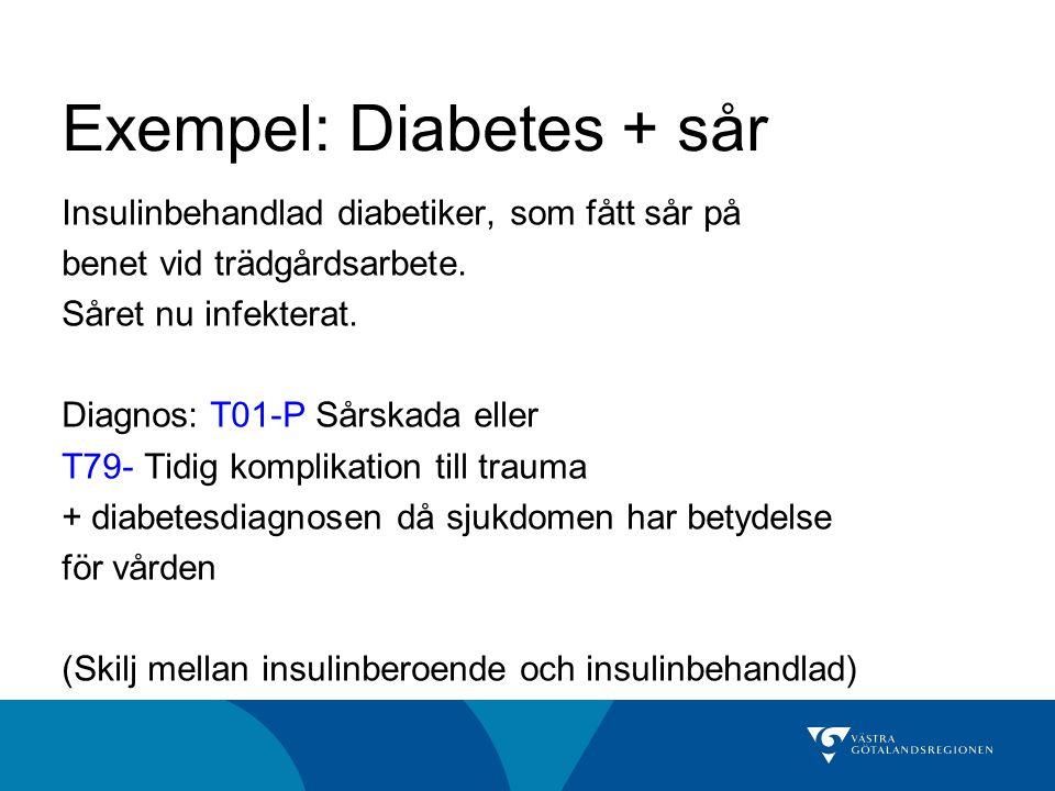 Exempel: Diabetes + sår