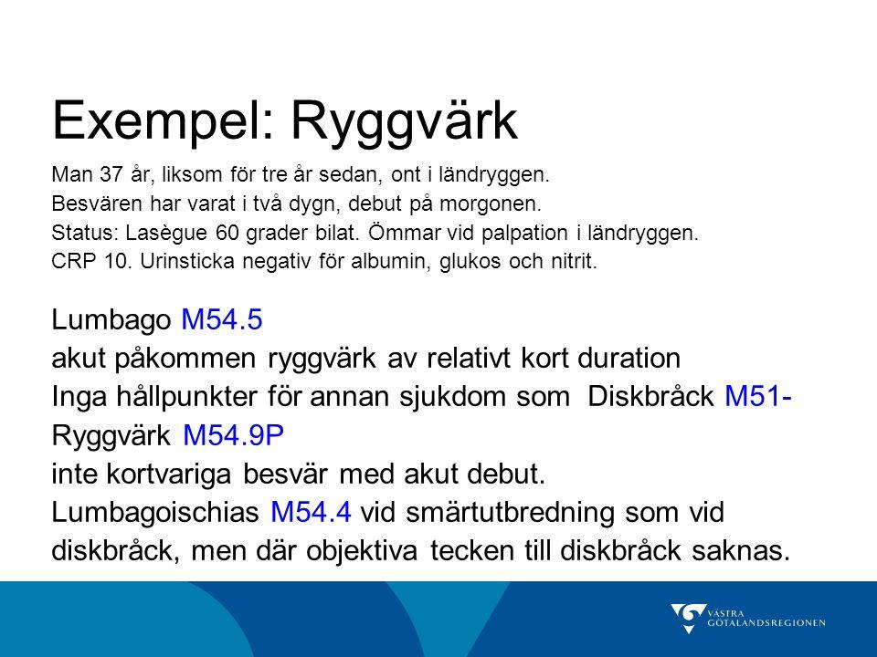 Exempel: Ryggvärk Lumbago M54.5