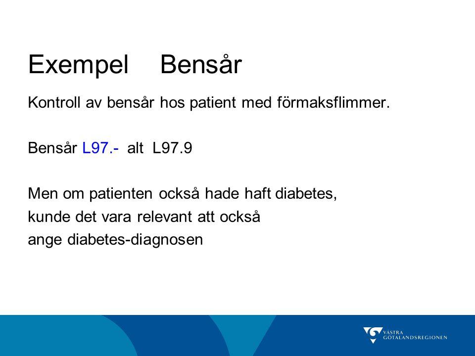 Exempel Bensår Kontroll av bensår hos patient med förmaksflimmer.