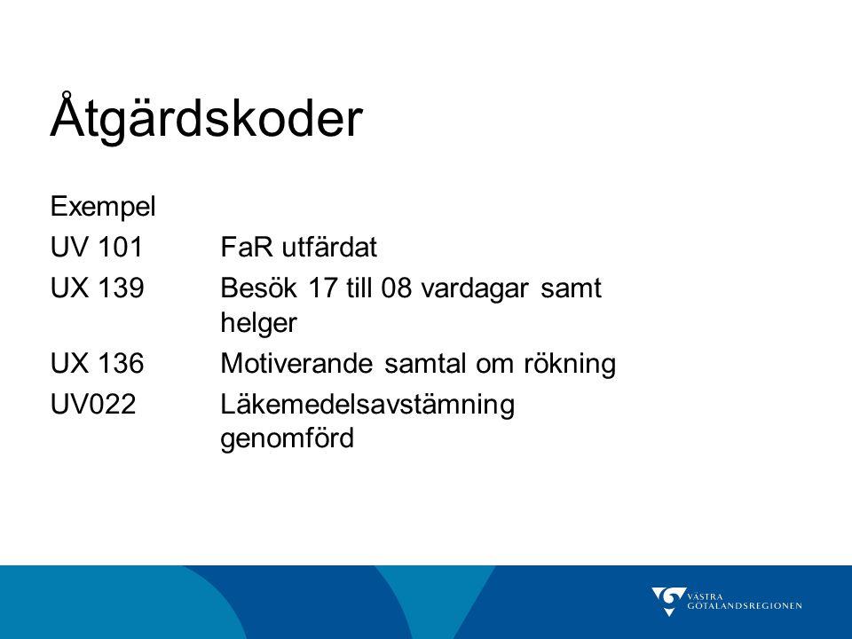 Åtgärdskoder Exempel UV 101 FaR utfärdat